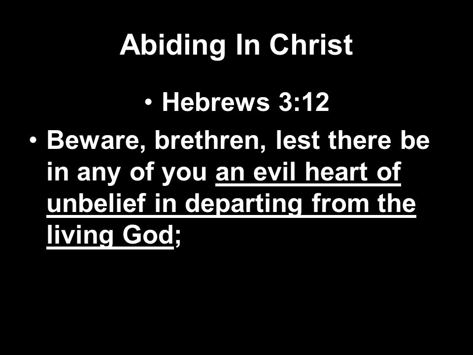 Abiding In Christ Hebrews 3:12