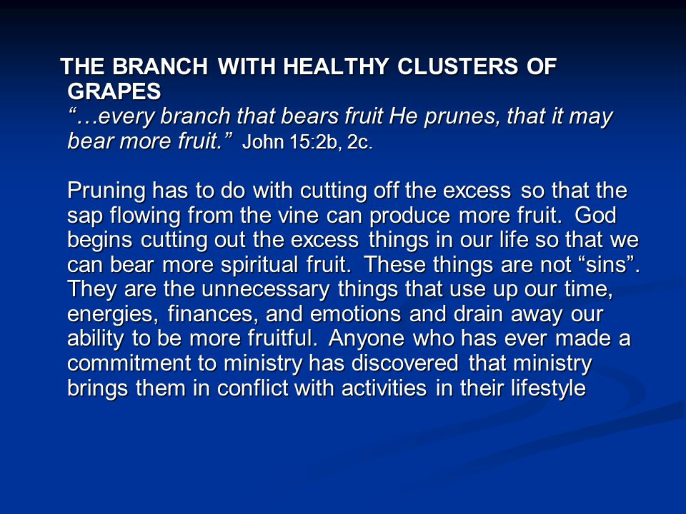 THE BRANCH WITH HEALTHY CLUSTERS OF GRAPES …every branch that bears fruit He prunes, that it may bear more fruit. John 15:2b, 2c.