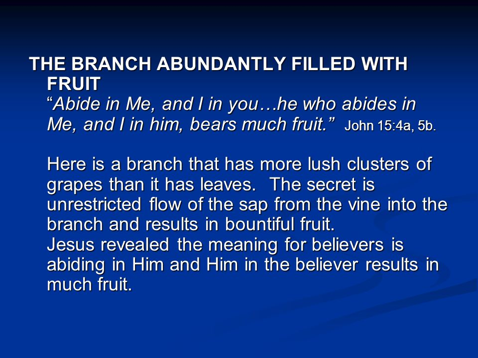 THE BRANCH ABUNDANTLY FILLED WITH FRUIT Abide in Me, and I in you…he who abides in Me, and I in him, bears much fruit. John 15:4a, 5b.