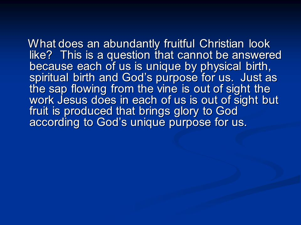What does an abundantly fruitful Christian look like