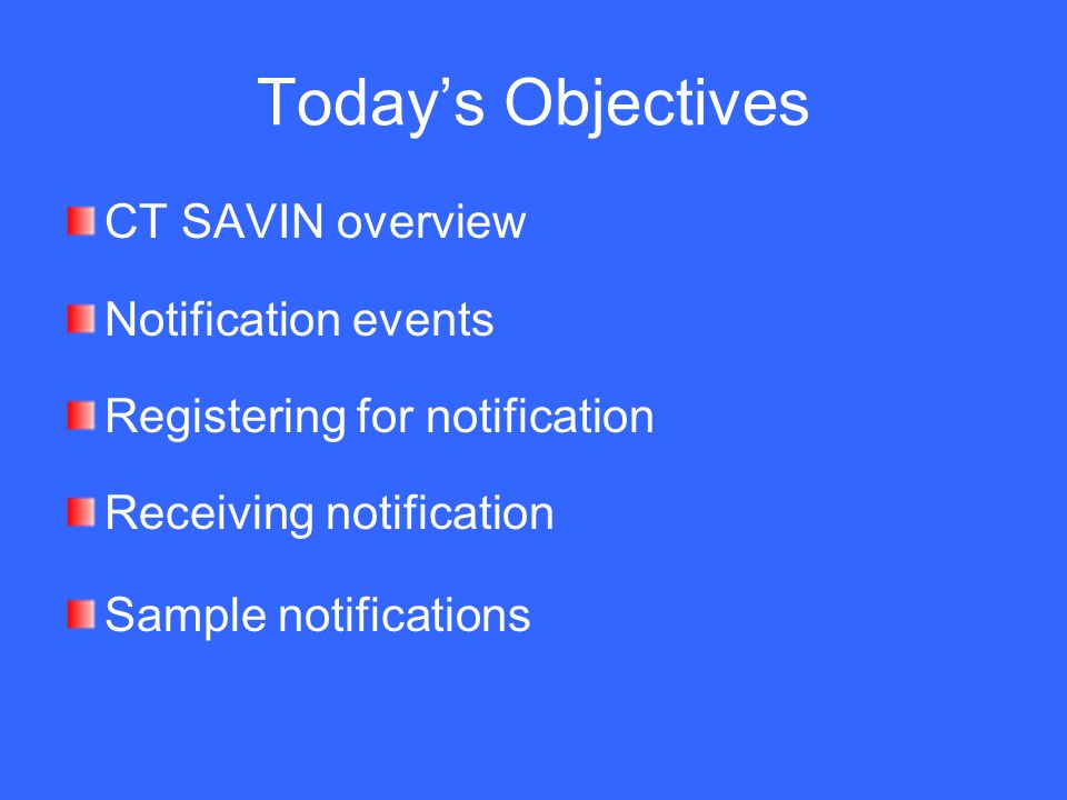 Today's Objectives CT SAVIN overview Notification events