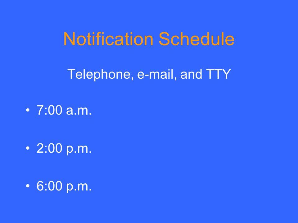 Notification Schedule