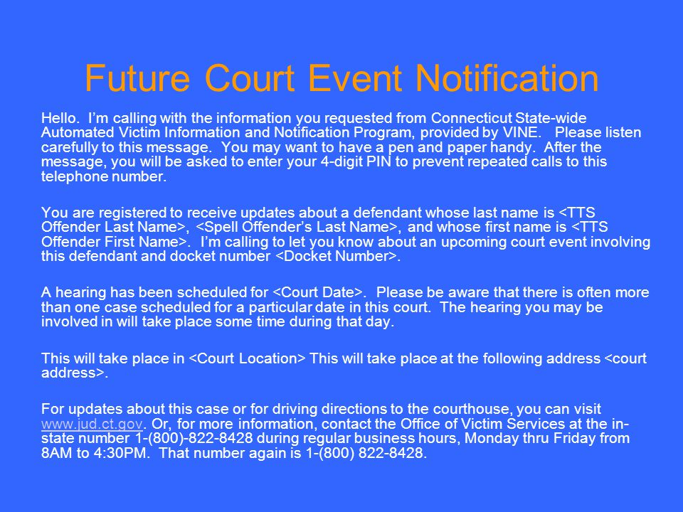 Future Court Event Notification