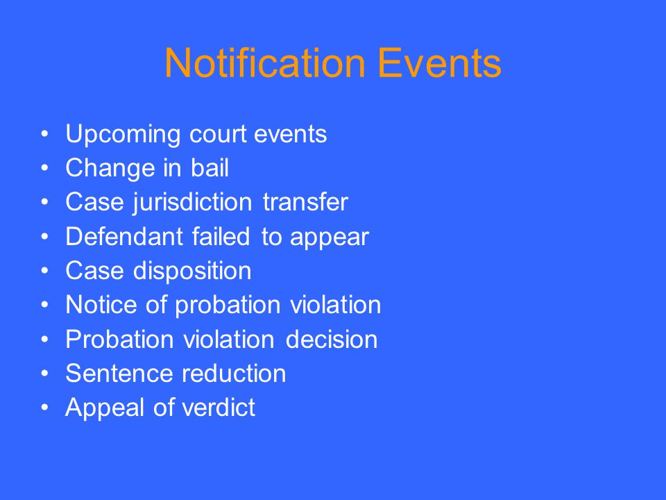 Notification Events Upcoming court events Change in bail