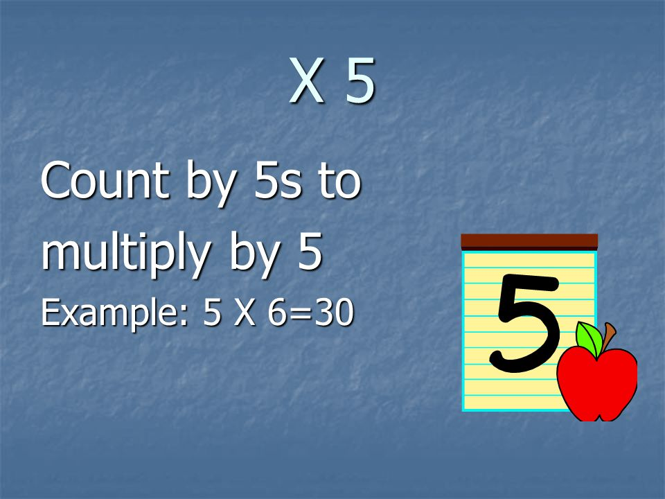 X 5 Count by 5s to multiply by 5 Example: 5 X 6=30