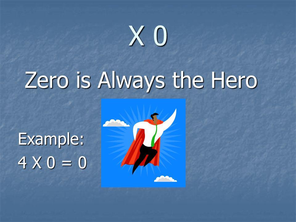 X 0 Zero is Always the Hero Example: 4 X 0 = 0