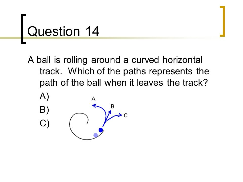 Question 14 A ball is rolling around a curved horizontal track. Which of the paths represents the path of the ball when it leaves the track