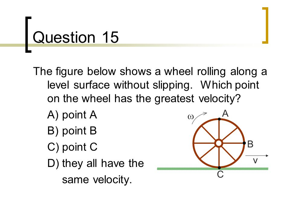Question 15 The figure below shows a wheel rolling along a level surface without slipping. Which point on the wheel has the greatest velocity