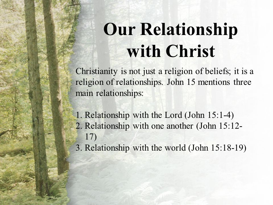 I. Our Relationship with Christ