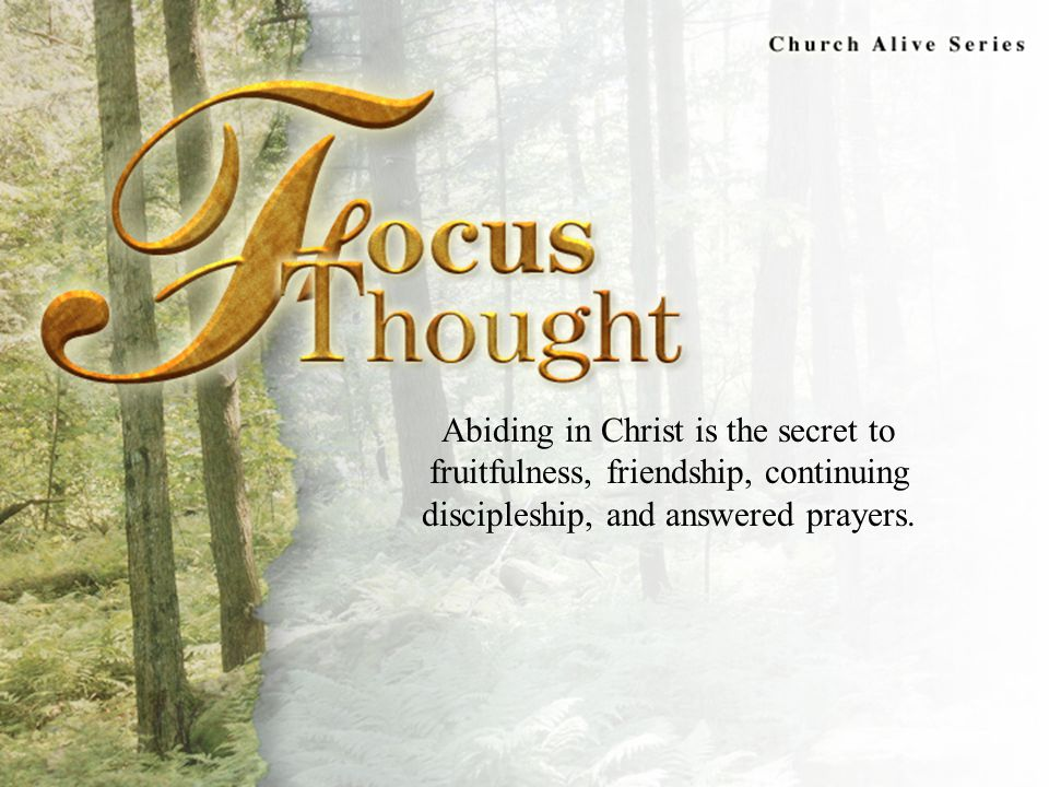 Focus Thought Abiding in Christ is the secret to fruitfulness, friendship, continuing discipleship, and answered prayers.
