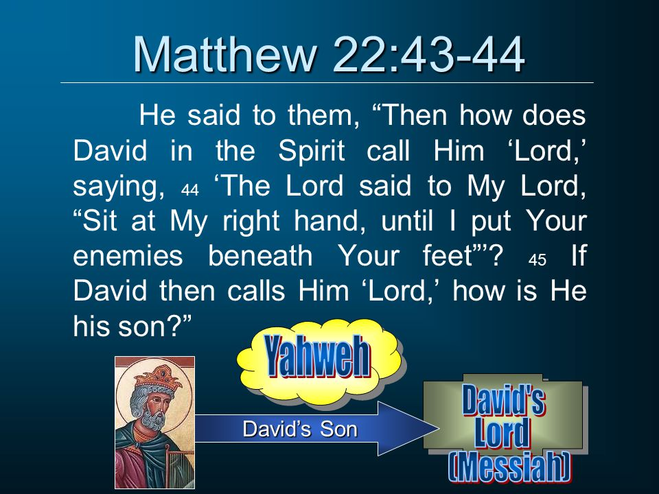 Matthew 22:43-44 Yahweh David s Lord (Messiah)