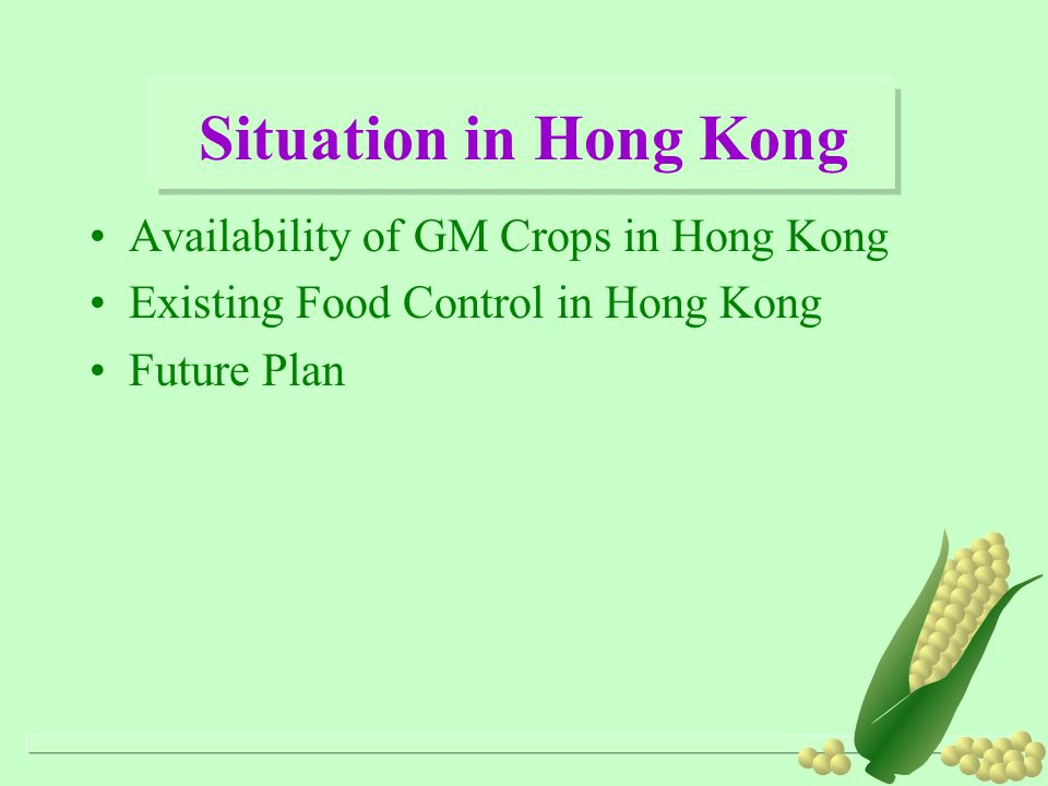 Situation in Hong Kong Availability of GM Crops in Hong Kong