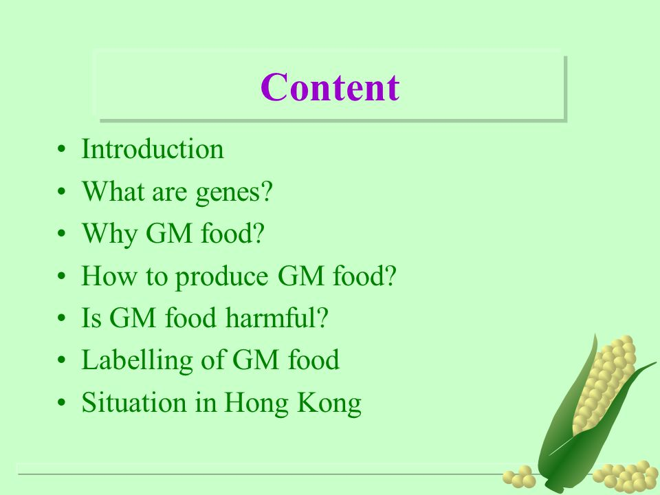 Content Introduction What are genes Why GM food