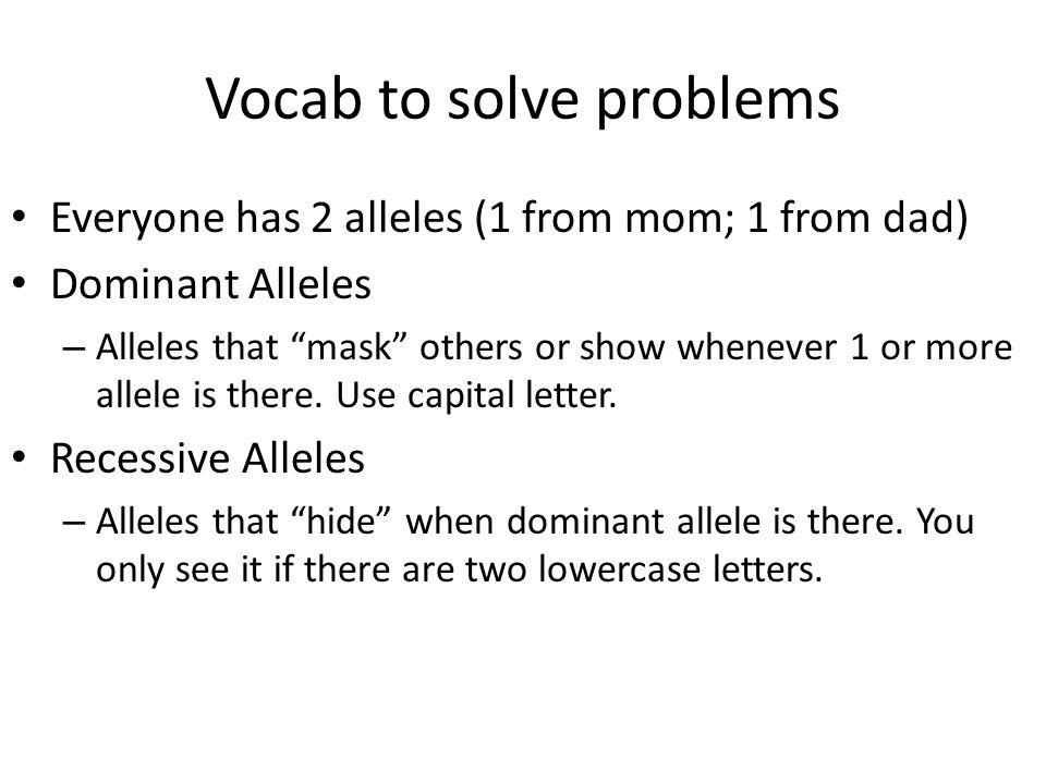 Vocab to solve problems