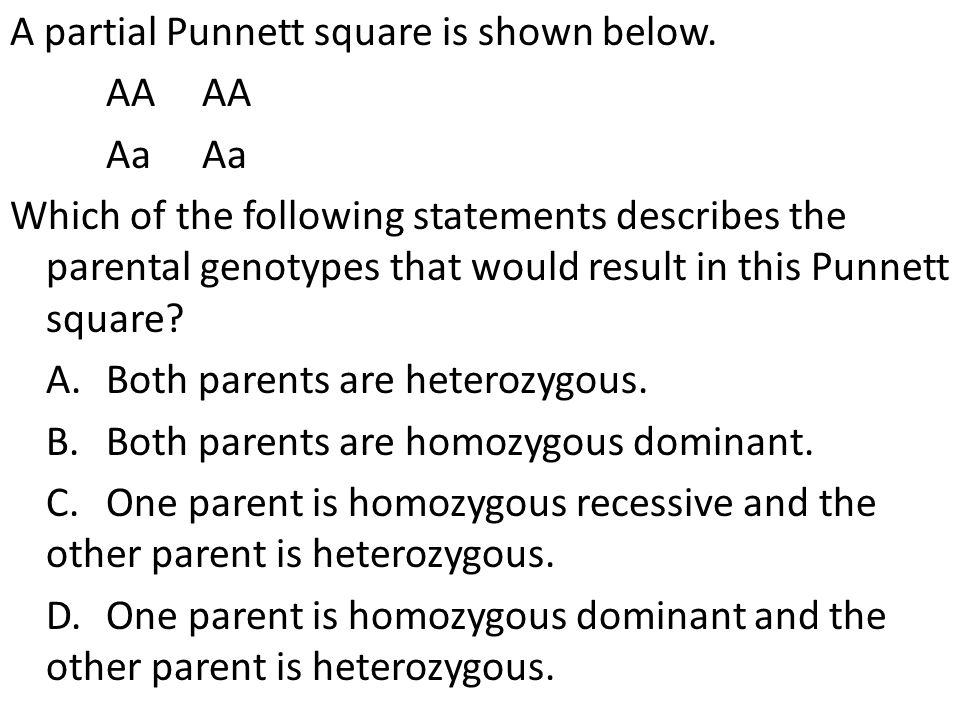 A partial Punnett square is shown below.