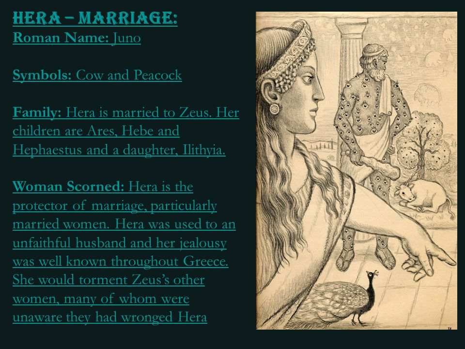 Hera – Marriage: Roman Name: Juno Symbols: Cow and Peacock