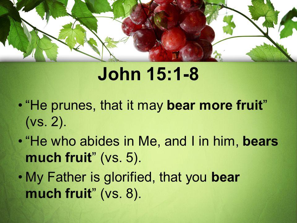 John 15:1-8 He prunes, that it may bear more fruit (vs. 2).