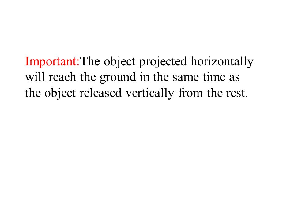 Important:The object projected horizontally will reach the ground in the same time as the object released vertically from the rest.
