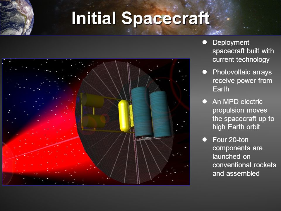 Initial Spacecraft Deployment spacecraft built with current technology