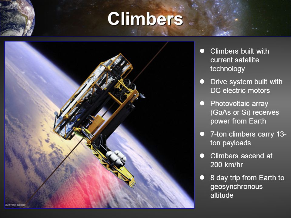 Climbers Climbers built with current satellite technology