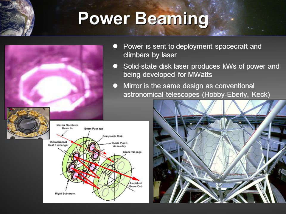 Power Beaming Power is sent to deployment spacecraft and climbers by laser.