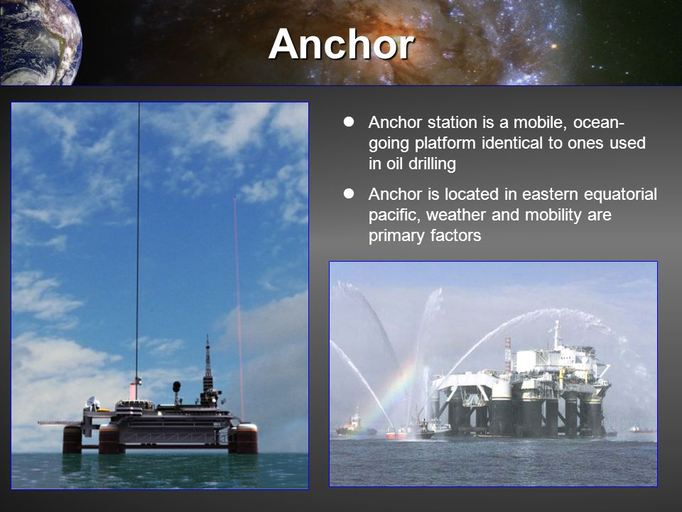 Anchor Anchor station is a mobile, ocean-going platform identical to ones used in oil drilling.