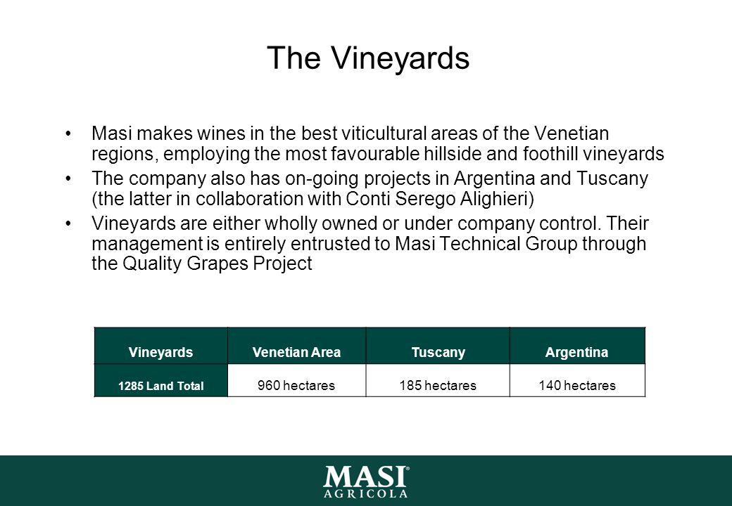 The Vineyards Masi makes wines in the best viticultural areas of the Venetian regions, employing the most favourable hillside and foothill vineyards.