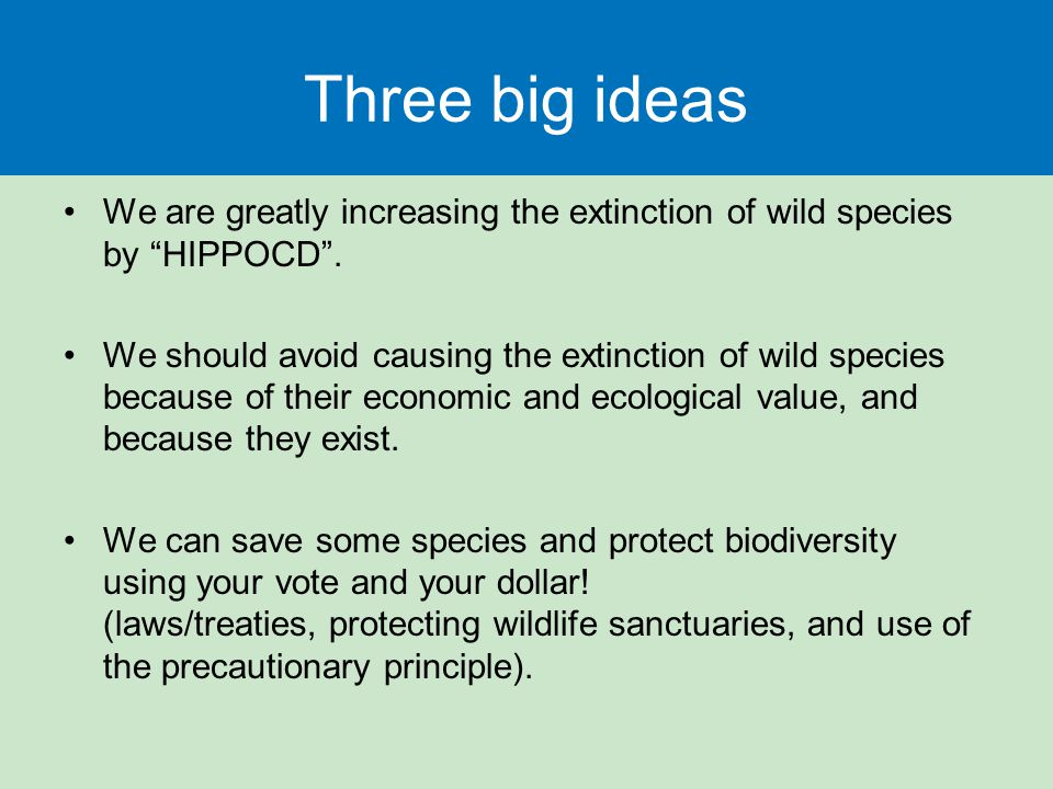 Three big ideas We are greatly increasing the extinction of wild species by HIPPOCD .