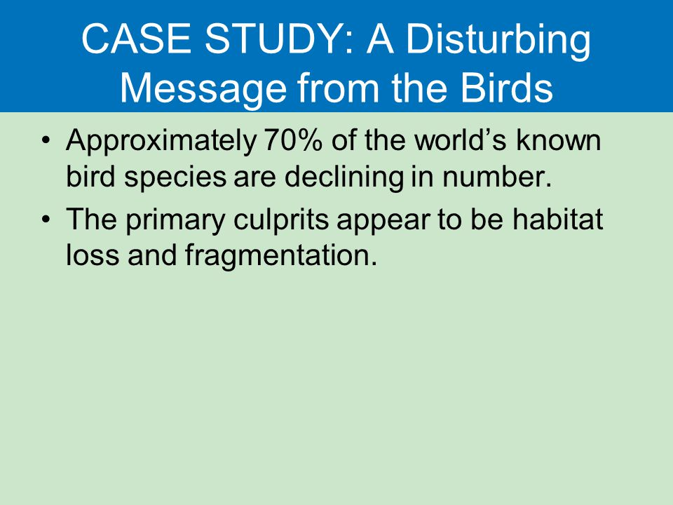 CASE STUDY: A Disturbing Message from the Birds