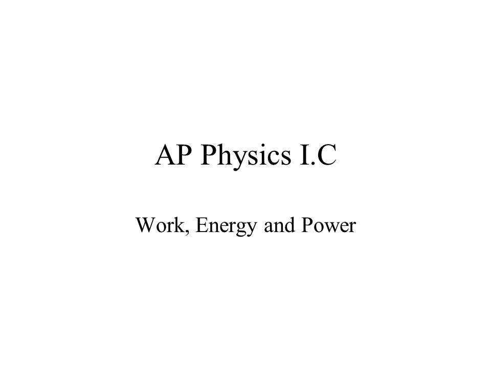 AP Physics I.C Work, Energy and Power