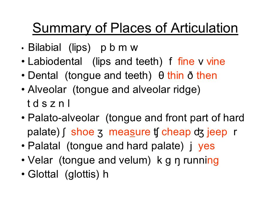 Summary of Places of Articulation