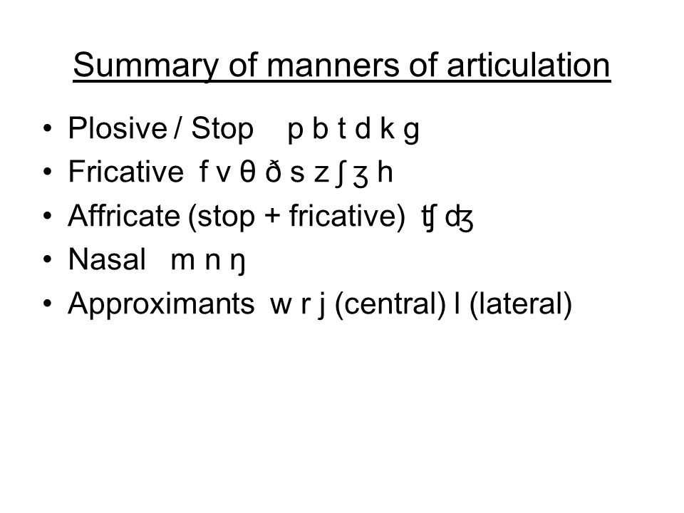 Summary of manners of articulation