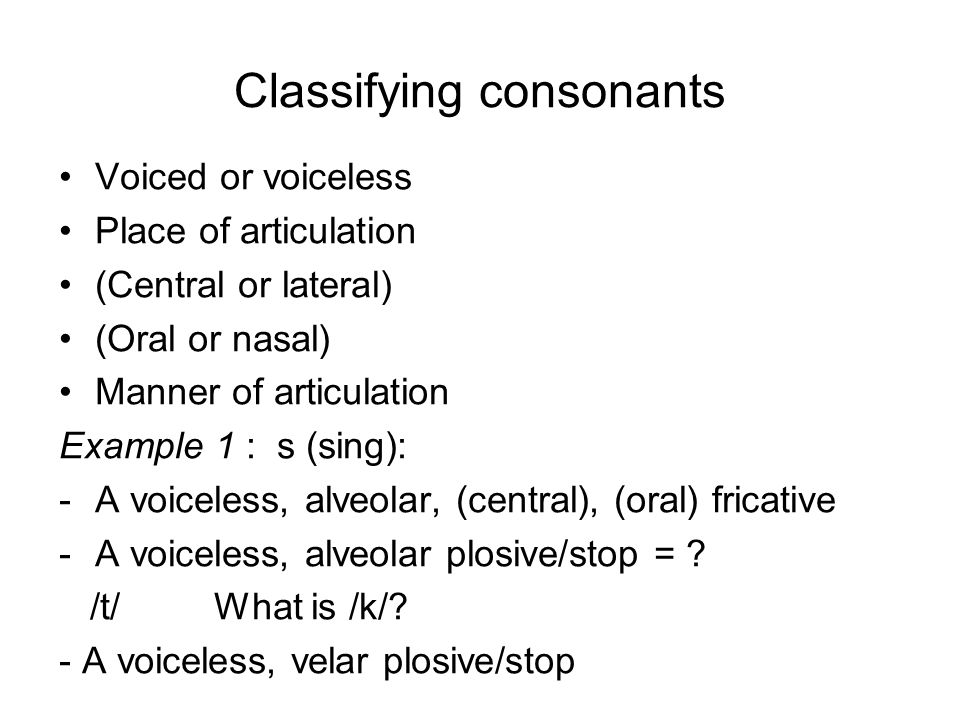 Classifying consonants