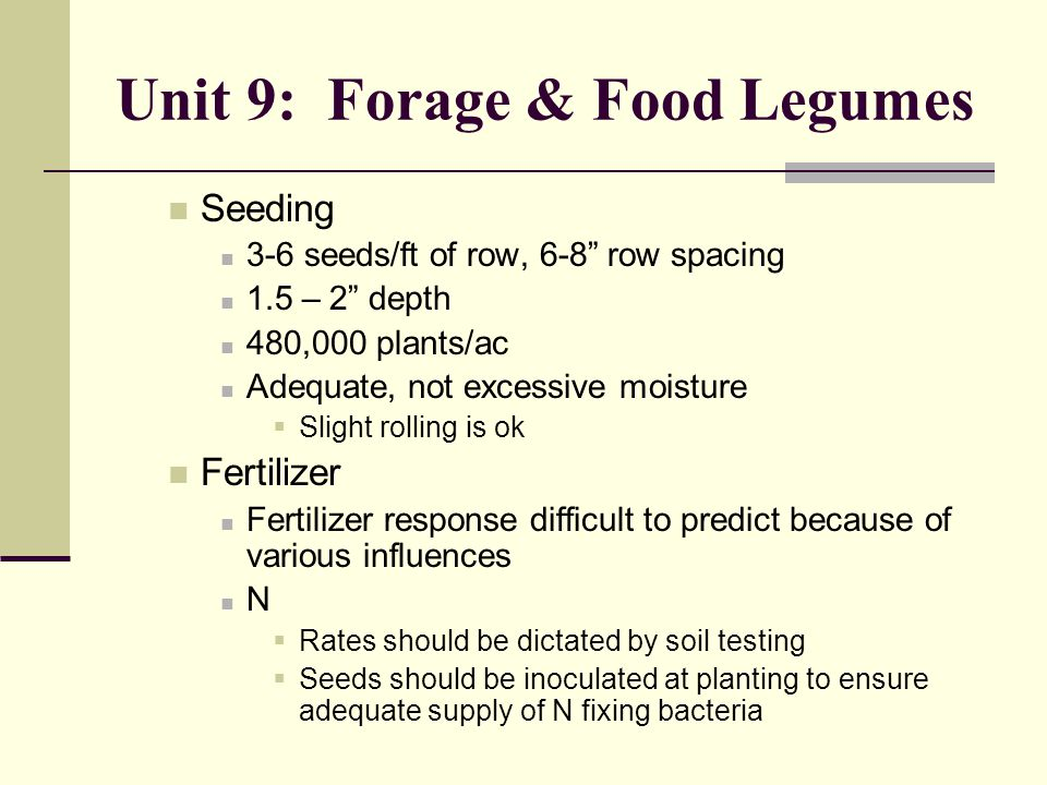 Unit 9: Forage & Food Legumes