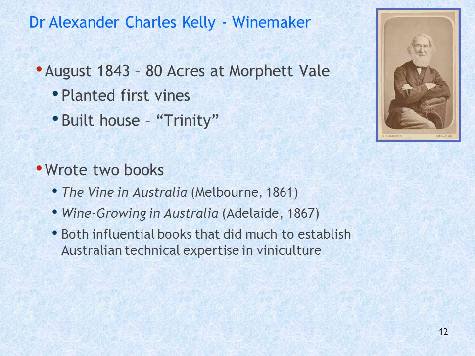 Dr Alexander Charles Kelly - Winemaker