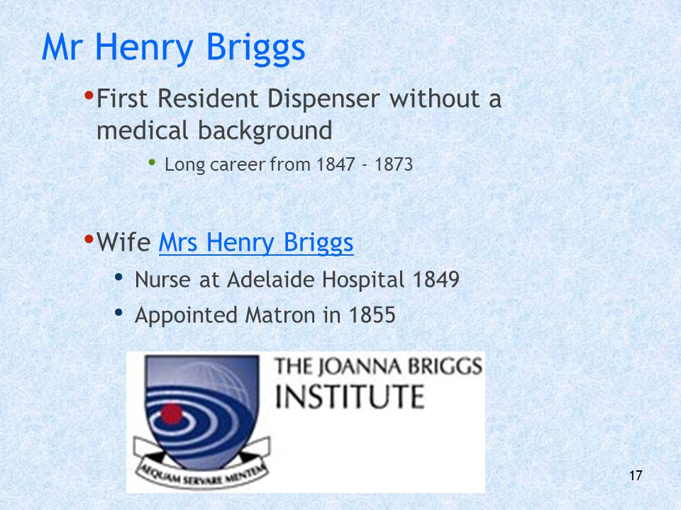 Mr Henry Briggs First Resident Dispenser without a medical background