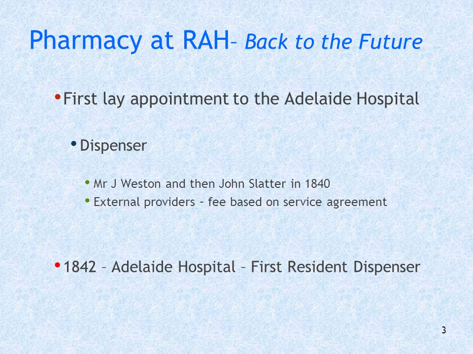 Pharmacy at RAH– Back to the Future