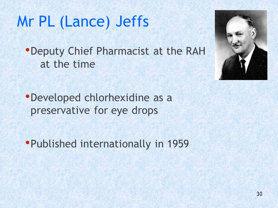Mr PL (Lance) Jeffs Deputy Chief Pharmacist at the RAH at the time
