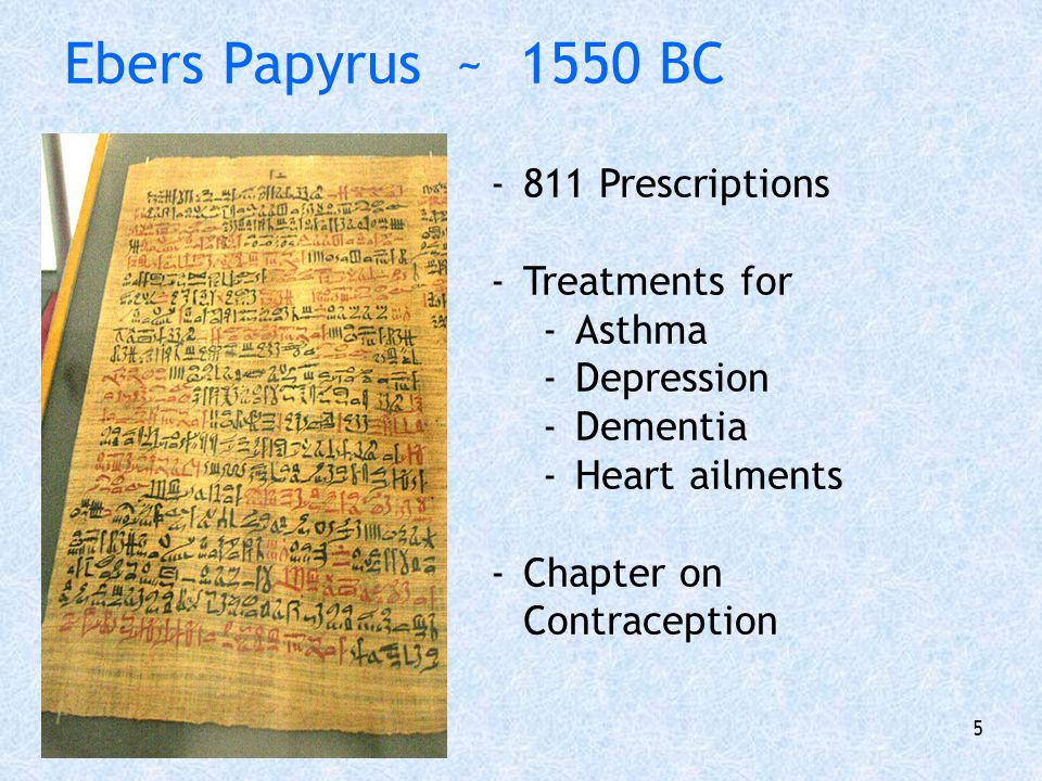 Ebers Papyrus ~ 1550 BC 811 Prescriptions Treatments for Asthma