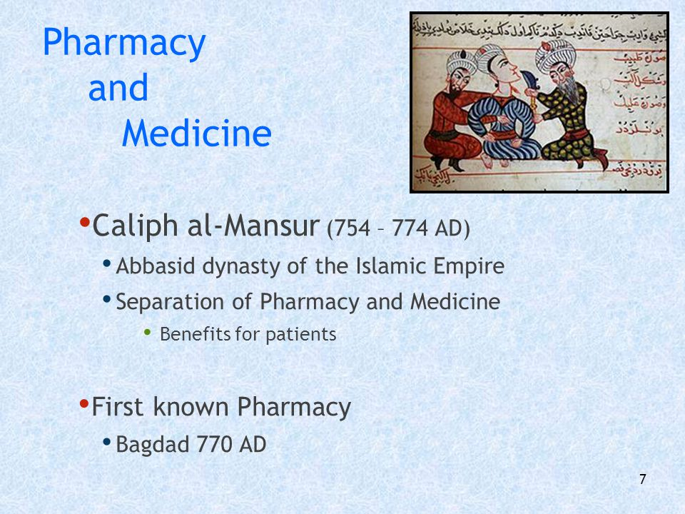 Pharmacy and Medicine Caliph al-Mansur (754 – 774 AD)