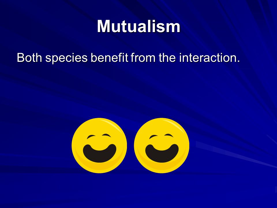 Mutualism Both species benefit from the interaction.