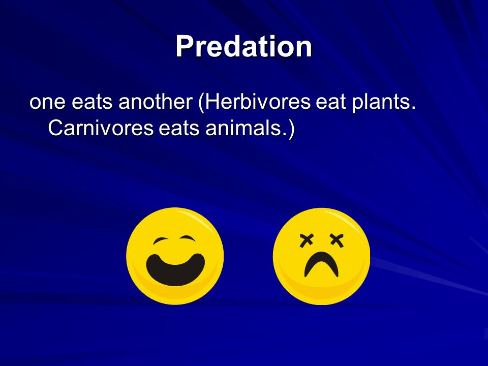 Predation one eats another (Herbivores eat plants. Carnivores eats animals.)