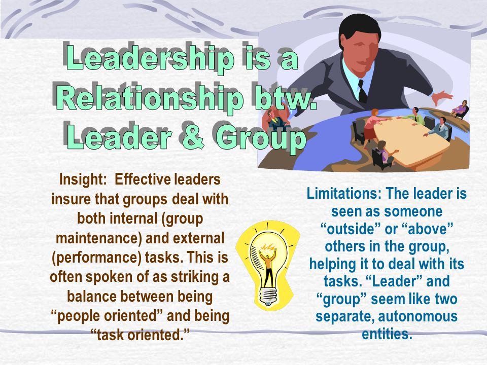 Leadership is a Relationship btw. Leader & Group