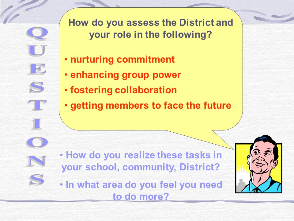 How do you assess the District and your role in the following