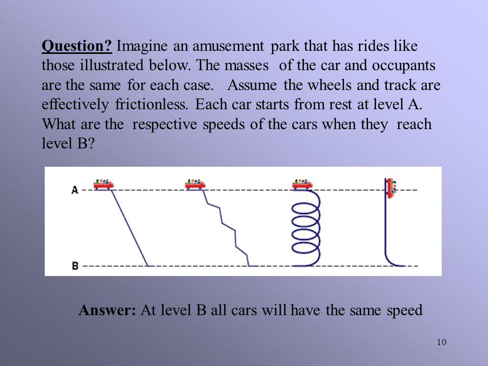 Question Imagine an amusement park that has rides like those illustrated below. The masses of the car and occupants are the same for each case. Assume the wheels and track are effectively frictionless. Each car starts from rest at level A. What are the respective speeds of the cars when they reach level B
