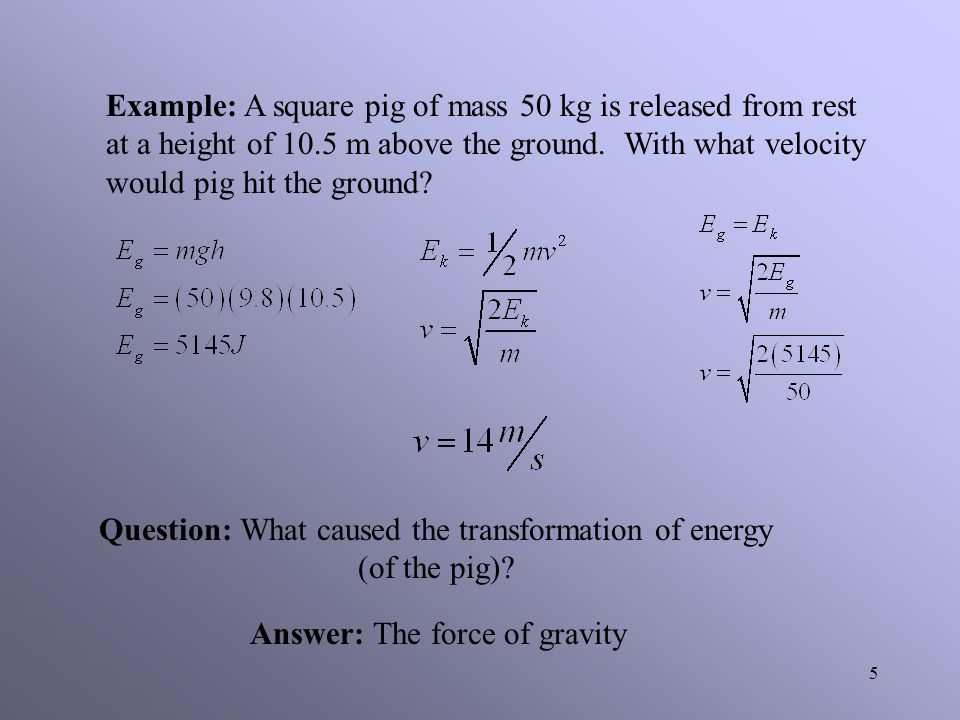 Question: What caused the transformation of energy (of the pig)