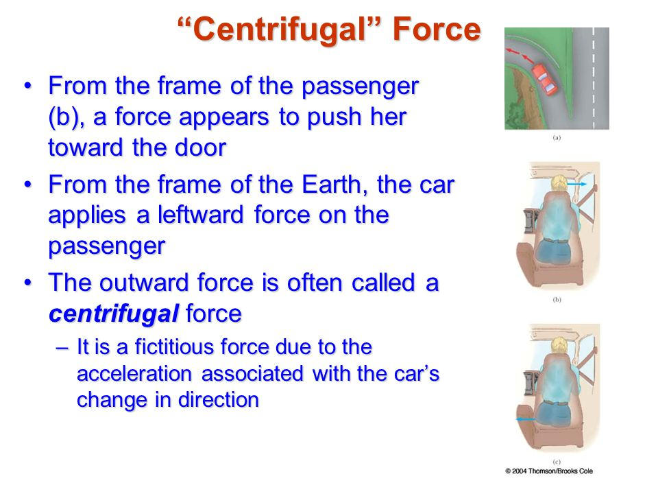 Centrifugal Force From the frame of the passenger (b), a force appears to push her toward the door.