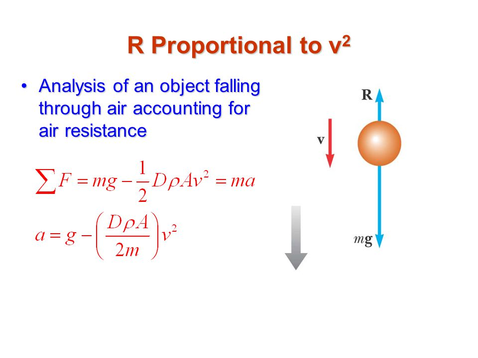 R Proportional to v2 Analysis of an object falling through air accounting for air resistance