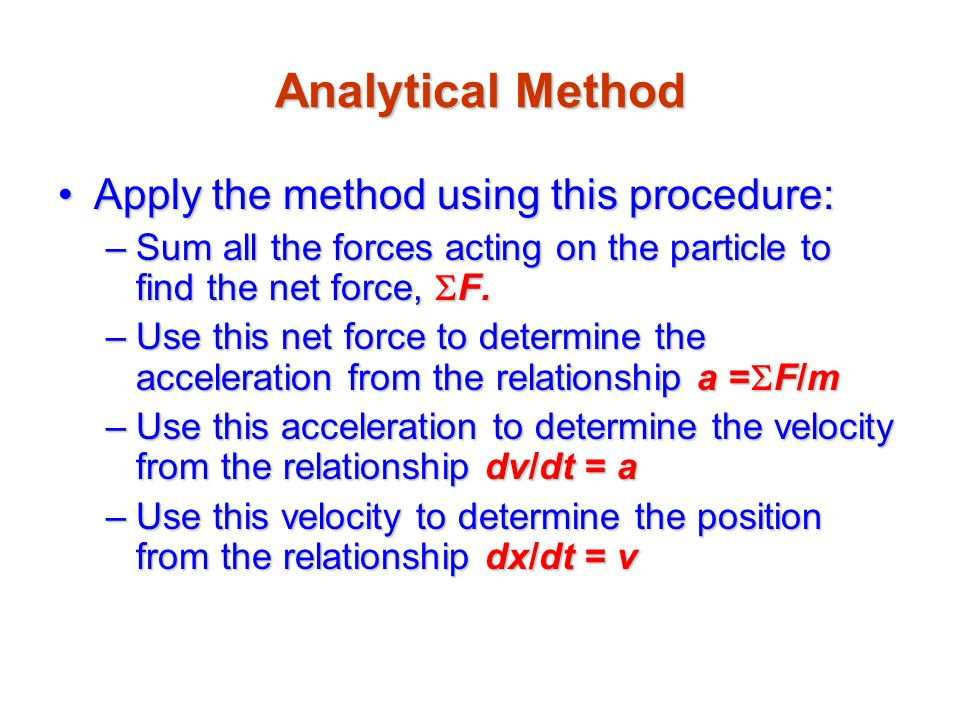 Analytical Method Apply the method using this procedure: