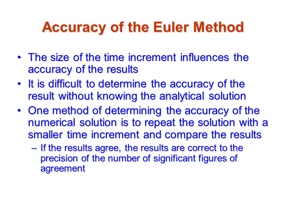 Accuracy of the Euler Method